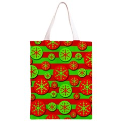 Snowflake red and green pattern Classic Light Tote Bag
