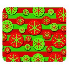 Snowflake Red And Green Pattern Double Sided Flano Blanket (small)