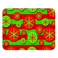Snowflake red and green pattern Double Sided Flano Blanket (Large)