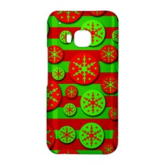 Snowflake red and green pattern HTC One M9 Hardshell Case