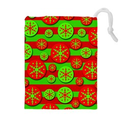 Snowflake red and green pattern Drawstring Pouches (Extra Large)