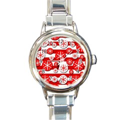 Snowflake red and white pattern Round Italian Charm Watch