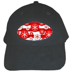 Snowflake red and white pattern Black Cap