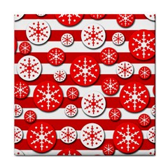 Snowflake red and white pattern Tile Coasters