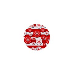 Snowflake Red And White Pattern 1  Mini Magnets