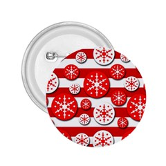 Snowflake red and white pattern 2.25  Buttons