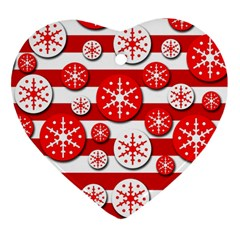 Snowflake red and white pattern Ornament (Heart)