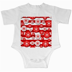 Snowflake red and white pattern Infant Creepers