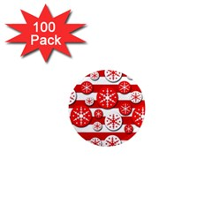 Snowflake red and white pattern 1  Mini Magnets (100 pack)