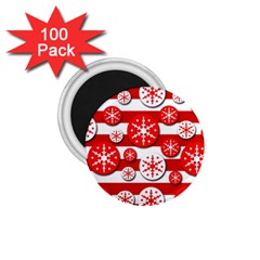 Snowflake red and white pattern 1.75  Magnets (100 pack)