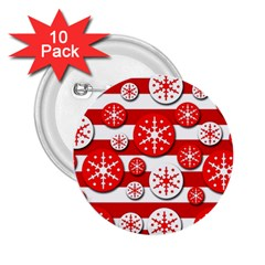 Snowflake red and white pattern 2.25  Buttons (10 pack)