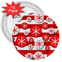 Snowflake red and white pattern 3  Buttons (10 pack)