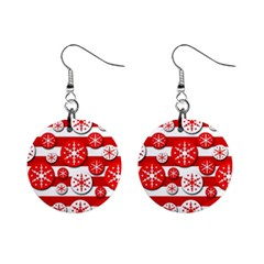 Snowflake red and white pattern Mini Button Earrings