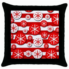 Snowflake red and white pattern Throw Pillow Case (Black)
