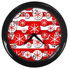 Snowflake red and white pattern Wall Clocks (Black)