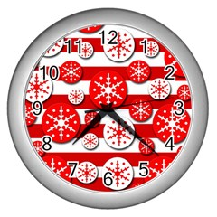Snowflake red and white pattern Wall Clocks (Silver)