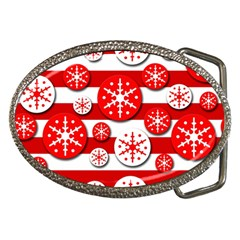 Snowflake red and white pattern Belt Buckles