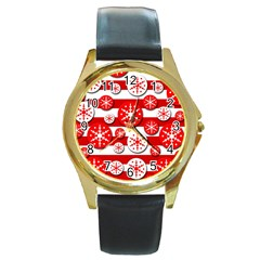 Snowflake red and white pattern Round Gold Metal Watch