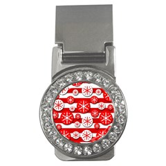 Snowflake red and white pattern Money Clips (CZ)