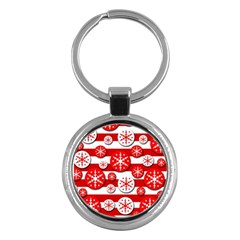 Snowflake red and white pattern Key Chains (Round)