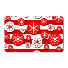 Snowflake red and white pattern Magnet (Rectangular)