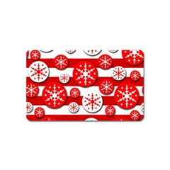 Snowflake Red And White Pattern Magnet (name Card)