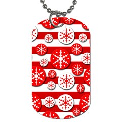 Snowflake red and white pattern Dog Tag (One Side)