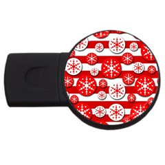 Snowflake red and white pattern USB Flash Drive Round (2 GB)