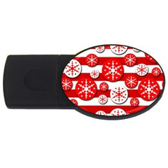 Snowflake red and white pattern USB Flash Drive Oval (1 GB)
