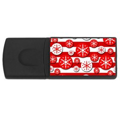 Snowflake red and white pattern USB Flash Drive Rectangular (1 GB)