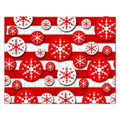 Snowflake red and white pattern Rectangular Jigsaw Puzzl