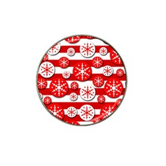 Snowflake red and white pattern Hat Clip Ball Marker