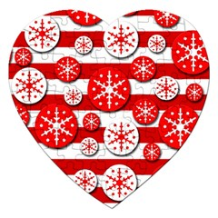 Snowflake red and white pattern Jigsaw Puzzle (Heart)