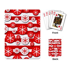 Snowflake red and white pattern Playing Card