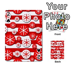 Snowflake red and white pattern Playing Cards 54 Designs