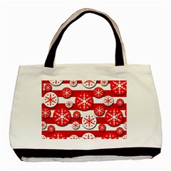 Snowflake red and white pattern Basic Tote Bag