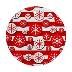 Snowflake red and white pattern Round Ornament (Two Sides)