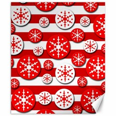 Snowflake red and white pattern Canvas 8  x 10