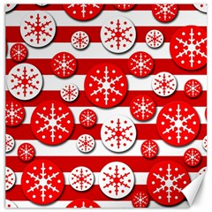Snowflake red and white pattern Canvas 12  x 12