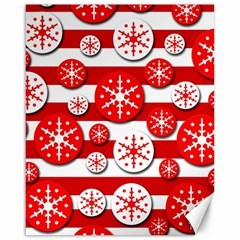Snowflake red and white pattern Canvas 16  x 20