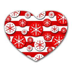 Snowflake red and white pattern Heart Mousepads