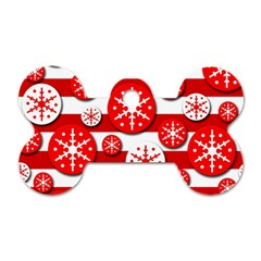 Snowflake Red And White Pattern Dog Tag Bone (one Side)