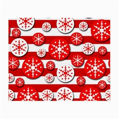 Snowflake red and white pattern Small Glasses Cloth (2-Side)