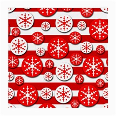 Snowflake red and white pattern Medium Glasses Cloth (2-Side)