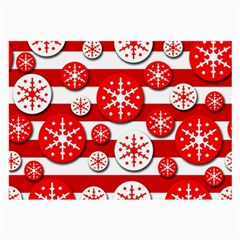 Snowflake red and white pattern Large Glasses Cloth (2-Side)