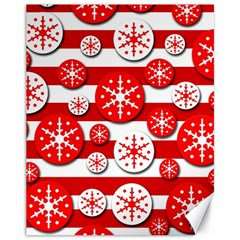 Snowflake red and white pattern Canvas 11  x 14