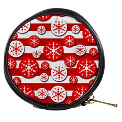 Snowflake red and white pattern Mini Makeup Bags