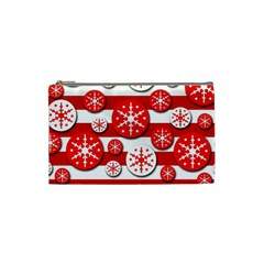 Snowflake red and white pattern Cosmetic Bag (Small)