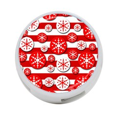 Snowflake red and white pattern 4-Port USB Hub (Two Sides)