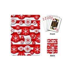 Snowflake red and white pattern Playing Cards (Mini)